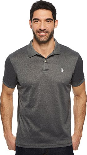 (U.S. Polo Assn. Men's Classic Fit Solid Short Sleeve Stretch Poly Polo Shirt, Black Heather-8027, X-Large)