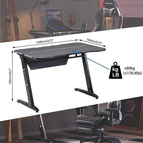 Merax Gaming Computer Desk LED Lights Z-Shaped Ergonomic Comfortable Table