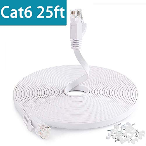 Cat6 Network Cable 25 ft, Flat Ethernet Cable, Slim Ethernet Cord with Clips, Short Computer Ethernet Cable for LAN Wire Network Adapter, Switch, Modem, Mac, Laptop MacBook Pro Air, PS4 in White