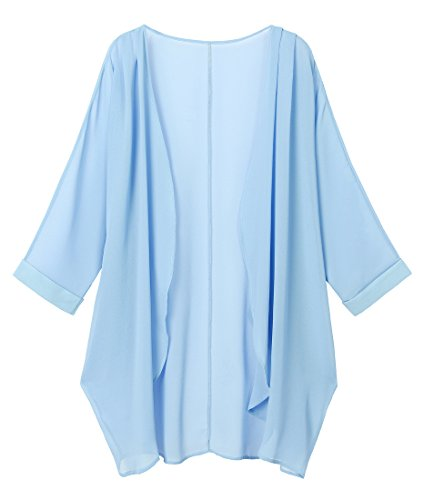 Olrain Women's Floral Print Sheer Chiffon Loose Kimono Cardigan Capes (Small, Sky Blue)