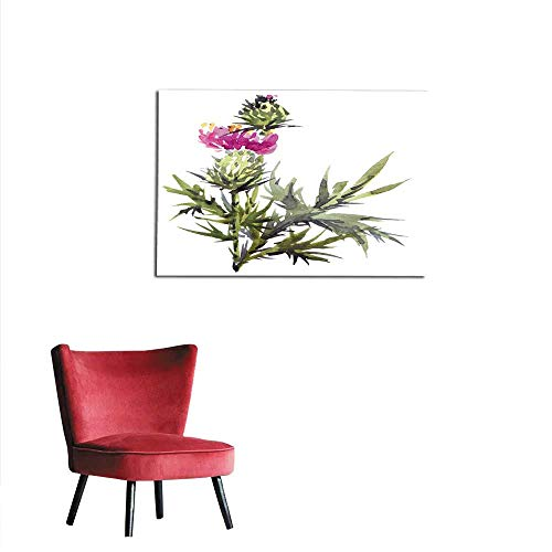 - All of better Wallpaper Watercolor Thistle Flower Mural 48