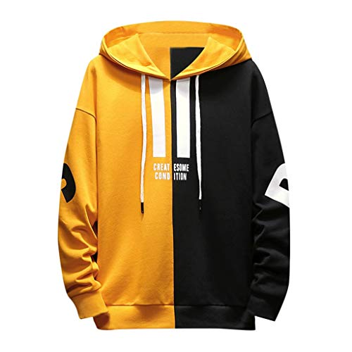 Teen Boy Hip Hop Hooded Sweatershirt, Iuhan Mens Winter Color Block Hoodie Top Blouse