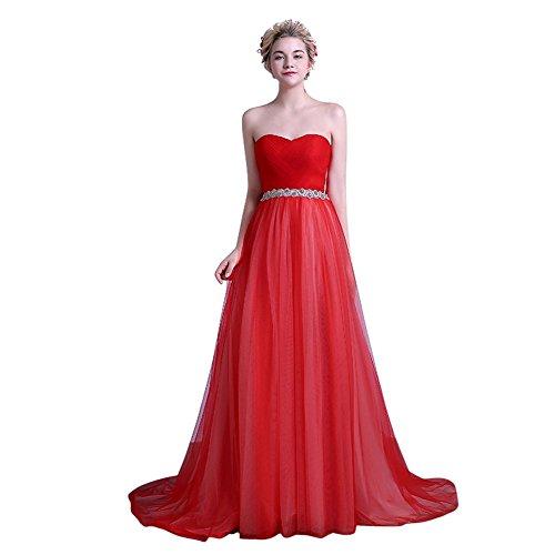 Ballo Rete Drasawee' Rosso Festa Bowknot Spalline Pieghe Capi Cuore Bridemaid Da A Donne In Senza 7qazfa