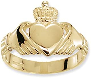 9ct Yellow Gold Claddagh Mens Ring Brand New