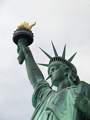 Home Comforts LAMINATED POSTER Statue Sky Flame Manhatten Liberty Woman Newyork Poster 24x16 Adhesive (Statue Of Liberty Flame)