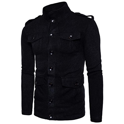 Forthery Men's Active Lightweight Slim Button Bomber Jacket Coat (Tag M= US S, Black) by Forthery