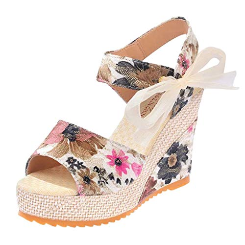 (Midress Summer Women Shoes Wedges Casual Slippers Thick Bottom Female Fish Mouth Sandal Tie Up Ankle Strap Wedge Comfort Sandal)