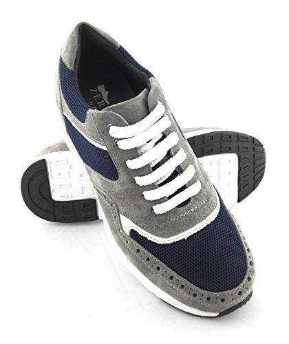 Zerimar Scarpe Sportive con Aumentatointerno di 7 cm Marcatura Fashion Design 100% Pelle Colore Grigio-Blu Taille 43