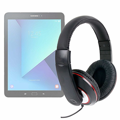 DURAGADGET Lightweight, Passive Noise-Cancelling, Supreme Comfort, Black/Red Stereo Over-Ear Headphones - Suitable for The Lenovo Tab 2 A10-70F