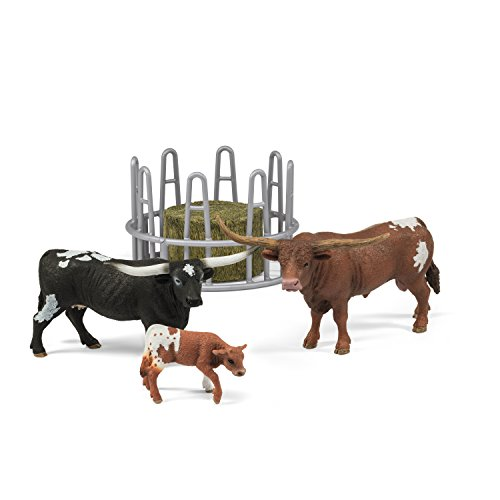 (Schleich Texas Longhorn Family On The Pasture Figurine Toy Play Set, Multicolor)