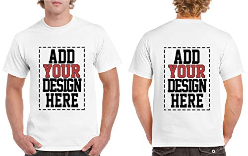 Custom 2 Sided T-Shirts - Design Your OWN Shirt - Front and Back Printing on Shirts - Add Your Image Photo Logo Text Number White