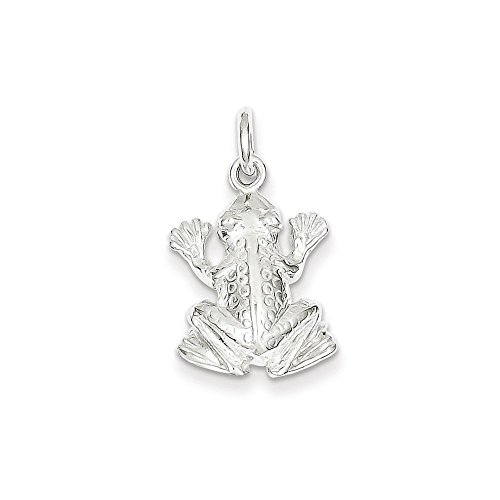 Sterling Silver Frog Charm Pendant (0.83 in x 0.59 in)