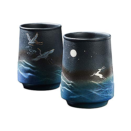 Juego de 2 tazas de te hechas a mano de ceramica china y japonesa, 10 onzas
