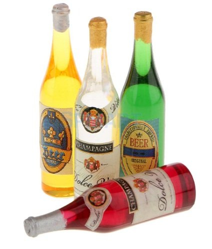 Drink 4Pcs Beer Champagne Wine Bottles Furniture Supply Dollhouse party best gift (Miniature Champagne Bottles)