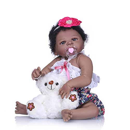 (Pinky 23 Inch 57cm Realistic Looking Soft Dolls Full Body Silicone Vinyl Reborn Baby Girl Dolls Lifelike Newborn Baby Dolls Real Touch Toddler Native American India Style Black Skin Xmas Gift)