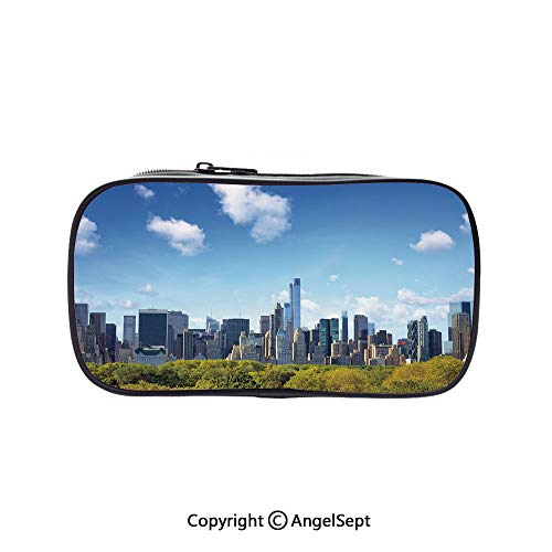 Pencil Holder with Handle Strap Handy Colored,Manhattan Skyline with Central Park in New York City Midtown High Rise Buildings Blue Green Ivory 5.1inches,Large Capacity Students -