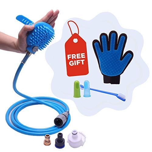Threegether Pet Bathing Tool Kit Shower Sprayer & Scrubber in-One. Free Toothbrush & Deshedding Grooming Glove. Dog & Cat Bathe & Massage. Bathtub & Garden Adapter. Indoor & Outdoor Hose Attachment