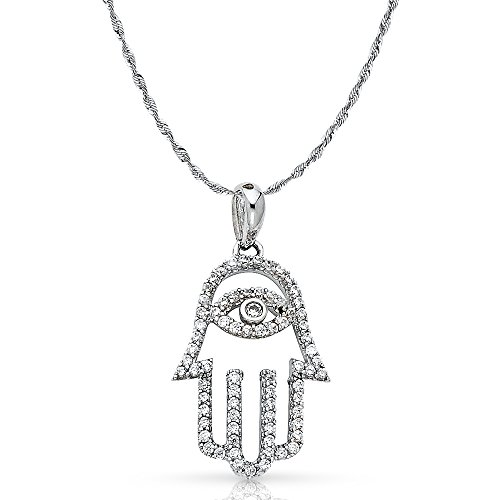 14K White Gold Evil Eye Cubic Zirconia CZ Charm Pendant with 1.5mm Rope Chain Necklace - 22