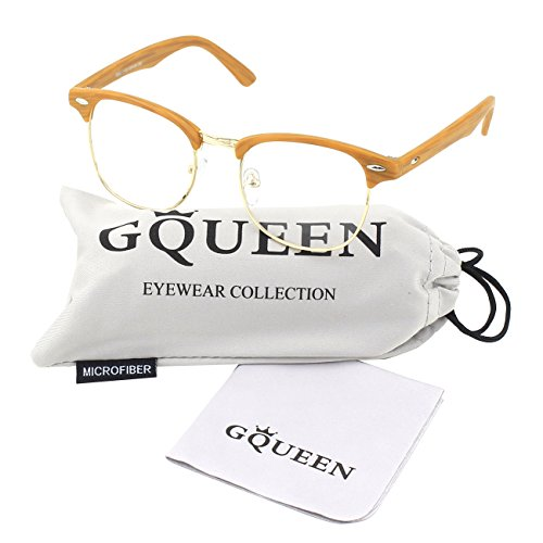 GQUEEN 201556 Vintage Inspired Classic Half Frame Nerd Wayfarers UV400 Clear Lens - Cheap Wood Glasses Frame
