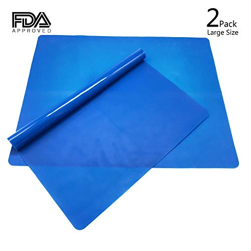 "Silicone Baking Mat for Dough Rolling Pastry Fondant Mat Large Nonstick and Nonskid Heat Resistent, Countertop Protector, Dining Table Mat and Placemat 20"" by 16′ (Without Measurements, Blue 2 Pack)"