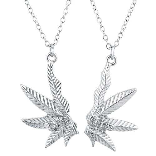Lux Accessories Christmas Winter Holiday SilverTone Best Buds BFF Friends Marijuana Weed Necklace Set 2PC