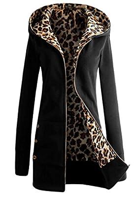 Meaneor Women's Plus Leopard Coat Long Jacket Zip Sweatshirt Outwear Hoodie TOP