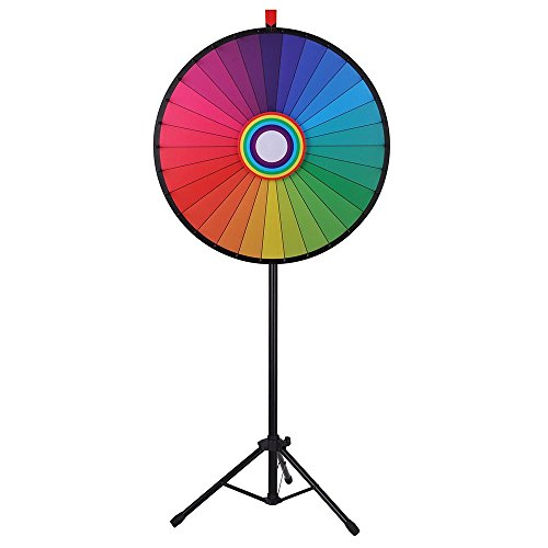 WinSpin™ 30' Editable Rainbow Prize Wheel 30 Slot Floor Stand Tripod Spinning Game Tradeshow Carnival