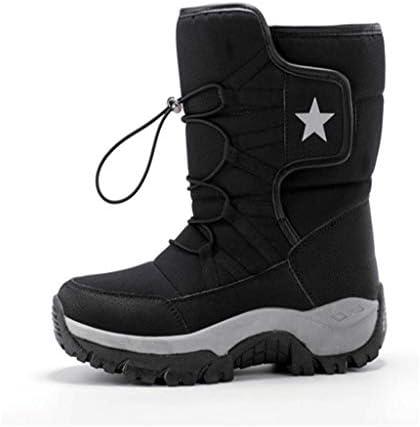 インソール吸収メンズプラスベルベット暖かい雪のブーツショックは、耐摩耗性ノンスリップゴム底アウトドアスポーツ用防水アンチ毛皮のレーススタイルの綿のブーツを (色 : 黒, サイズ : 26.5 CM)
