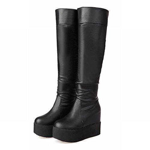 Carolbar Womens Cosplay Fashion Charm Platform Wedge Heel Tall Dress Boots Black fh29z4