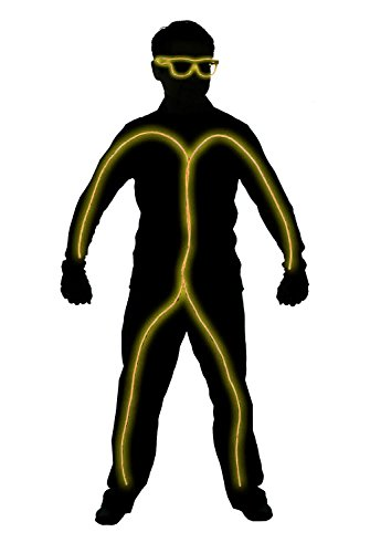 GlowCity Light Up Stick Figure Costume Kit Includes Lights, Shades and Clips Only-Clothing Not Included-Yellow -