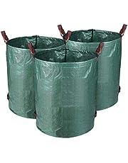 3-delige tuinzak 300 l tuinafvalzak van robuust PE - zelfstaand en opvouwbaar - afvalzakken voor tuinafval, bladeren, gazon, planten, groen snijden (3 x zakken)