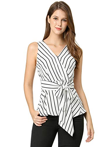 (Allegra K Women's Striped Sleeveless V Neck Tie Waist Asymmetric Hem Wrap Peplum Top XL White)