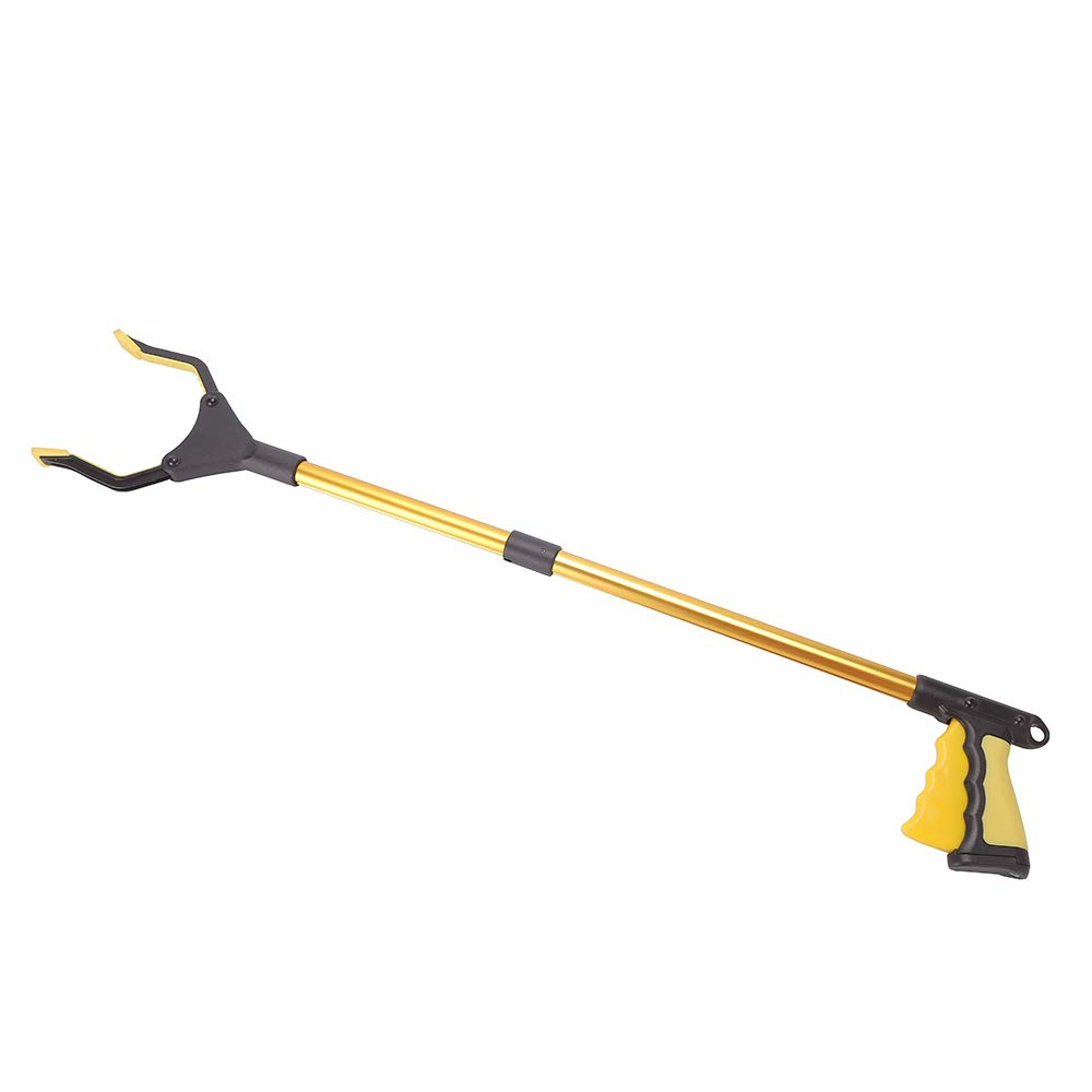 Folding and lengthening Aluminum Alloy Clip, Pickup, 32'', Same as The Light Bulb Removal Tool, iPad Pick up, Garbage Collector, Garbage, Garbage Garden Nabbe (Golden)