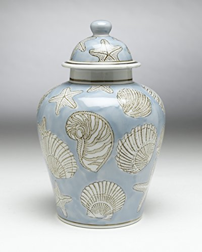 AA Importing 59728 Blue Seashell 10 Inch Ginger Jar