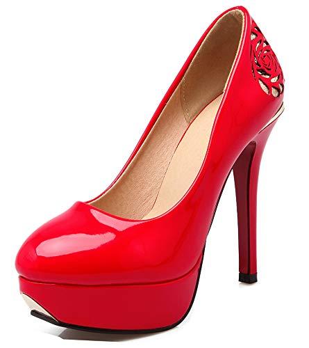 Fleurie Escarpins Aisun Rouge Rond Bout Plateforme Epouse Mode Femme E4r8q40