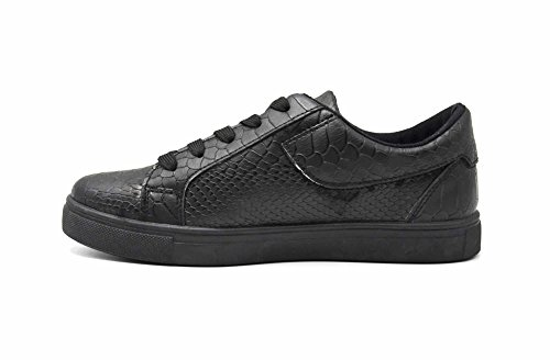 Oh My Shop SHY59 * Baskets Tennis Sneakers Simili Cuir Vernis Noir avec Motif Croco, Fermeture Zip et Lacets