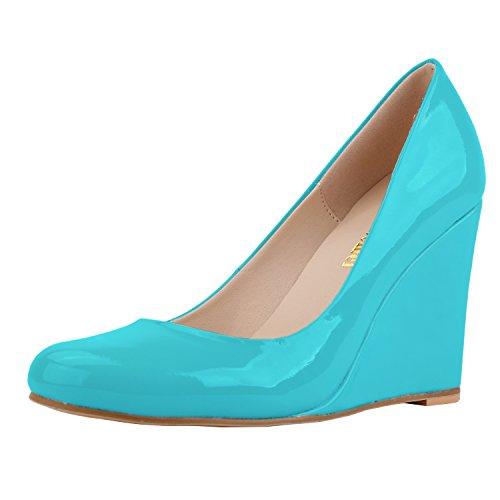 Pumps Shoes Dress Wedges Neon Platform Zbeibei Blue Women's High heels Toe Round n47zSqa