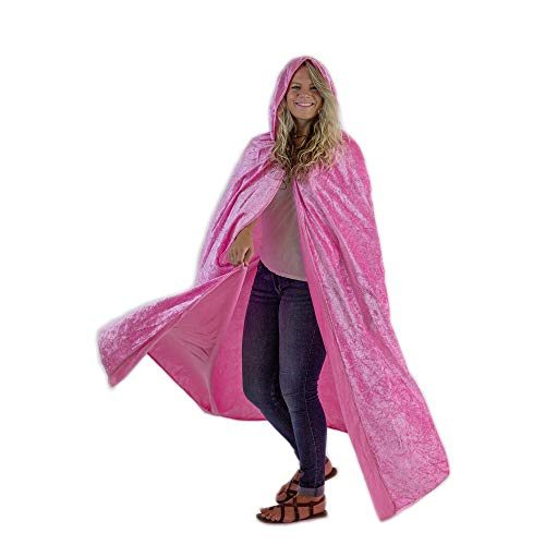 Everfan Pink Hooded Cape | Cloak with Hood for Halloween, Cosplay, Costume, Dress -
