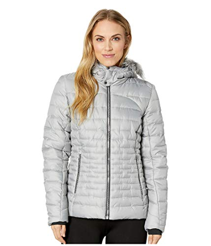 (Spyder Women's Edyn Hoody Synthetic Down Jacket, Alloy/Alloy, Medium)