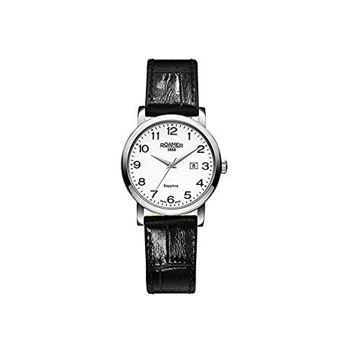 Roamer of Switzerland Women's 30mm Black Leather Band Steel Case Quartz White Dial Watch 709844 41 26 07