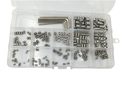 HVAZI 240pcs M3 M4 M5 M6 M8 Metric 304 Stainless Steel Hex Socket Set Screw Assortment Kit (M4 Set Screw)