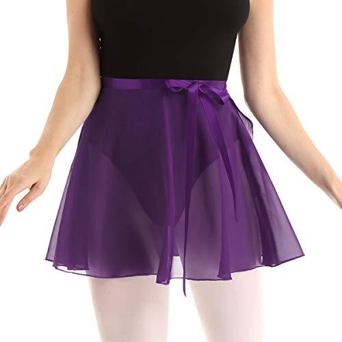 FEESHOW Women Asymmetric Chiffon Ballet Wrap Skirt Dance Skate Wrap Over Scarf with Waist Tie (One Size, Purple #2)