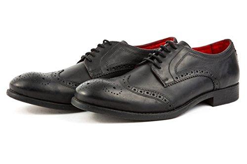 Base London - Zapatos de cordones de Piel Lisa para hombre 43 negro