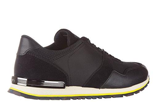 Tod's chaussures baskets sneakers homme en cuir allacciata spoiler noir