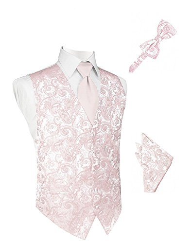 Blush Tapestry Satin Tuxedo Vest with Long Tie Bowtie and Pocket Square Set
