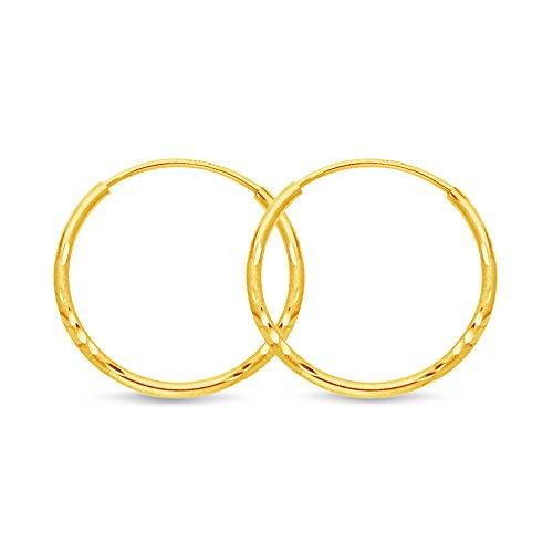 14k Yellow Gold Diamond-Cut 1.5mm Satin/Endless Hoop Earrings (17 x 17 mm)