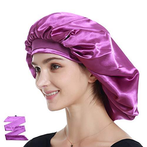 (Alnorm Extra Large Satin Sleep Bonnet Dreadlock Satin Cap Purple)