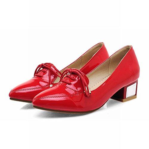 Carolbar Femmes Bout Pointu Bowknots Mode En Cuir Verni Chunky Mi-talon Mocassins Chaussures Rouge
