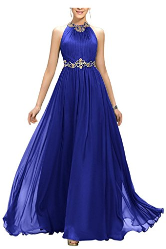 SA025 Women's Dresses Party Bridesmaid Royal Jewel Mother Gown Dresses Chiffon Blue Prom Beaded Crystals SxqPZwBS