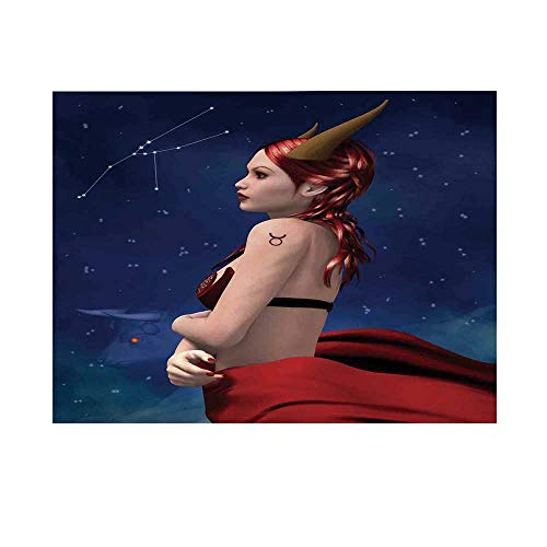 Astrology Photography Background,Taurus Girl with Horns Maleficent Zodiac Stars Venus Beauty Graphic Design Decorative Backdrop for -